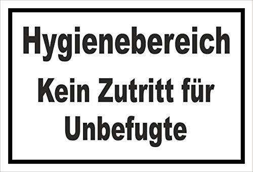 Melis Folienwerkstatt Schild Hygienebereich - 15x10cm - Bohrlöcher - 3mm Hartschaum – 20 VAR S00225-005-A