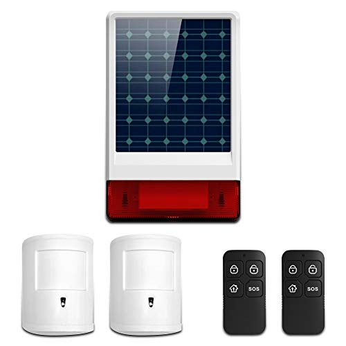 Wolf-Guard Sistema de alarma GSM para el hogar, sirena solar de 433 MHz con detector de movimiento antimascotas y control remoto, control de aplicación