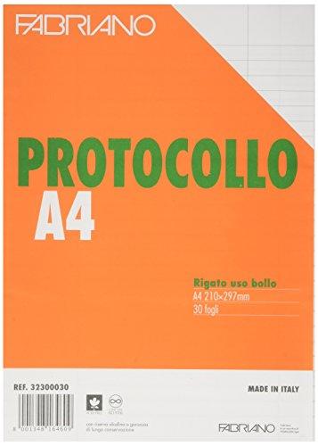 Fabriano 241416 Foglio Protocollo, Rigato, 30 Fogli
