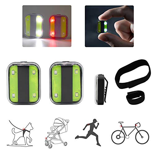 ORYX VISION Running Lights for Runners Clip on Rechargeable USB 2PCS, Dog Collar Walking Light for Night Walking Running, Led Safety Light for Stroller, Cycling, Hiking, Bike Tail Light for Strobe