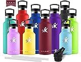 KollyKolla Bottiglia Termica per Acqua in Acciaio Inox, 500ml Senza BPA, Borraccia Sportiva Sottovuoto a Doppia Parete, Borracce Termiche per Bambini, Scuola, Ufficio, Sport, Palestra, Rosso Scuro