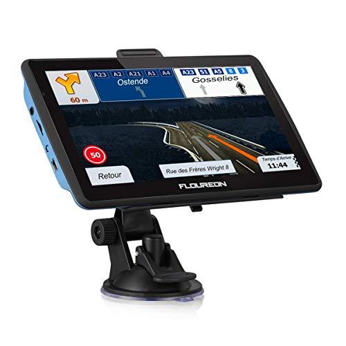 FLOUREON GPS de Voiture 7 Pouces, GPS Navigation Auto LCD à Ecran Tactile Système de Navigation Automatique Cartographie Plan Européen Angleterre Gratuit 8Go Intégré Support Carte TF