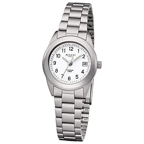 Regent Damen Uhr F-258 Metall Quarzwerk Armband-Uhr Titan-Uhr Silber URF258