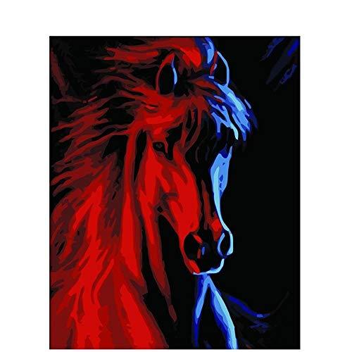 Xhzzdhbc schilderij op nummers, doe-het-zelf, digitale olieverfschilderij, woonkamer, modern, acrylverf, handbeschilderd, kunst, werk paard Met frame