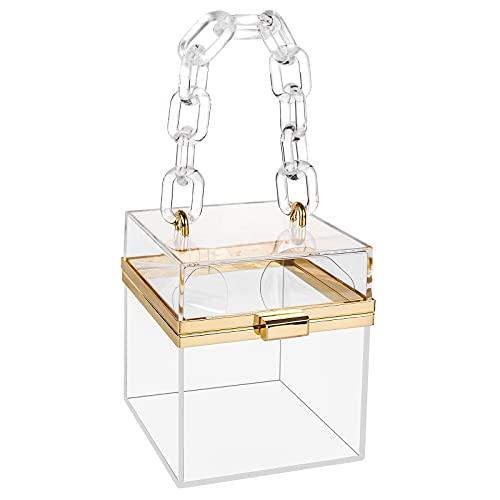 Bolso de embrague acrílico de las mujeres, caja cuadrada transparente, bolso aprobado por el estadio transparente, bolso de cena del partido de la noche