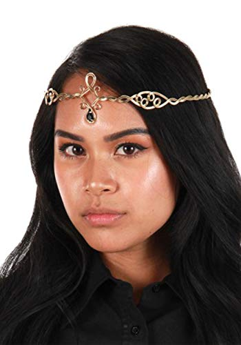Circlet Crown Renaissance Elf Cosplay Headpiece in Gold with Black Jewels