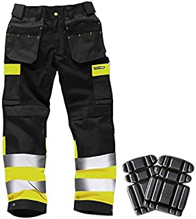 Hi Viz Mens Work Trouser Tuff Multi Pocket Pants Triple Stitched FREE KNEE PADS
