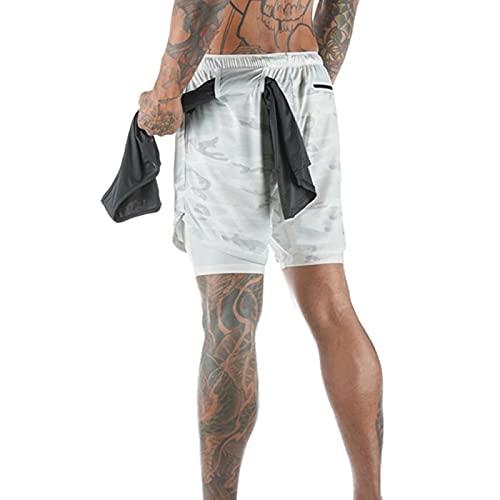 Pantalones cortos 2 en 1, secado de pantalones cortos de entrenamiento con entrenamiento rápido y bolsillo con cremallera para hombres