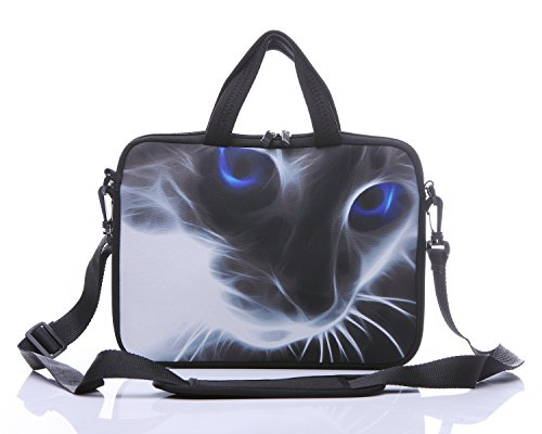 11-Inch to 12-Inch Neoprene Laptop Sleeve Case Bag with shoulder strap For 11', 11.6', 12' Ultrabook/Acer/Asus/Dell/HP/Toshiba/Lenovo/Chromebook (Grey cat with blue eyes)
