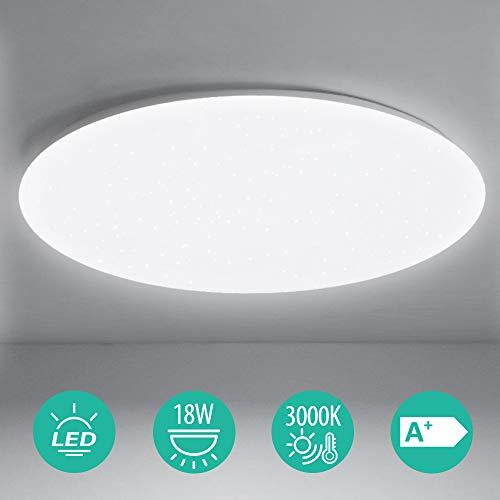 LED Deckenleuchte, BIGHOUSE 18W 1600lm Deckenlampe, Ersatz für 100W Halogenlampen,IP44 Wasserfest Badlampe, 6000K Kaltweiß für Badezimmer, Wohnzimmer, Balkon, Flur Küche, Ø30cm