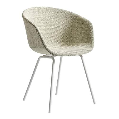 HAY About a Chair AAC 27 Armlehnstuhl Gestell weiß, beige Stoff Steelcut Trio 213 Gestell Stahl pulverbeschichtet weiß mit Kunststoffgleitern