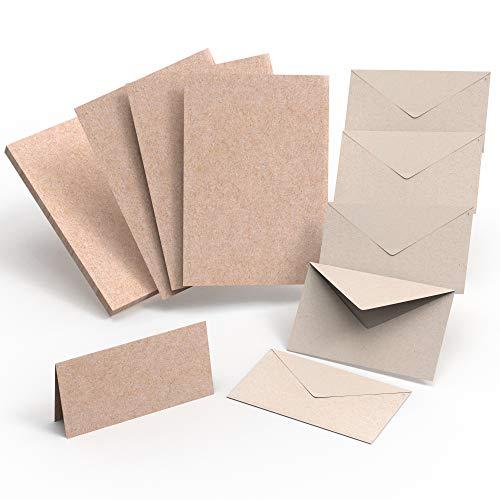 Juego de tarjetas con sobres, 120 piezas, tarjetas dobles DIN A6, papel de estraza I tarjetas plegables en blanco con sobre, tarjetas para diseñar tú mismo I juego de manualidades de tarjetas