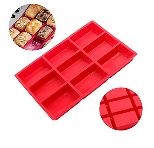 Faneli 9-Fach Brownie Backform, rot, 9 rechteckiges Loch Silikon Backform Kuchenform Seifen