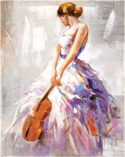 JHGJHK Mural de la Pintura al óleo de la Muchacha del Ballet del Arte Abstracto, Pintura casera de la decoración del Arte (4)