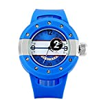 ELEOPTION Quartz Watch Arabic Numerals Indicate Round Dial Rubber Watchband for Men Free Watch Box (Blue)