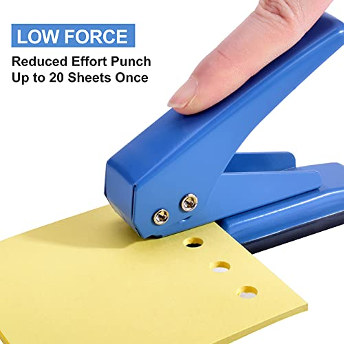 """MROCO 1/4"""" Hole Punch Hole Puncher Single Hole Punch One Hole Punch 1 Hole Punch with Non-Skid Base for Paper, Card, Plastic, Leather, Tag, Chipboard and Art Project, 20 Sheets Punch Capacity, Blue Photo #2"""