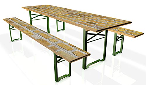 Wallario Tischdecke für Bierzeltgarnituren, selbstklebend, Folie für 1 Tisch & 2 Bänke - Motiv: Ziegelsteinwand in gelb - Backsteine