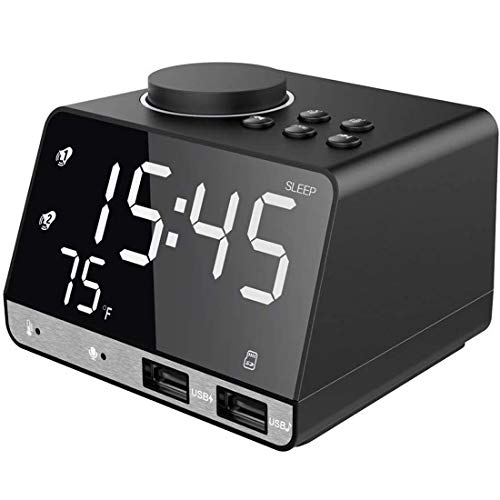 Alarm Clock with USB Charger, 4.2' LED Digital Alarm Clock with FM Radio, Bluetooth Speaker, 12/24H Mode, Temperature, Snooze, Adjustable Alarm Volume for Bedrooms Bedside Desk