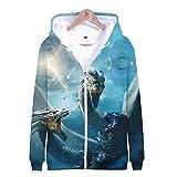 Fleyel Unisexe Sudadera con Capucha, Godzilla Zipper Sweatshirt Jackets 3D Imprimer Hoodies Hoodie Manga Larga Hoodie Casual Camisa de Entrenamiento Abrigo de Sudadera