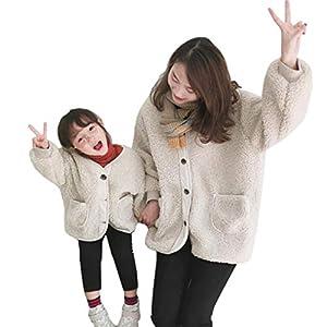 キッズ ノーカラーコート 中綿コート 親子服 カールボアラペルコートファーコート 家族お揃い 冬 防寒コート あったか (100, 子供)
