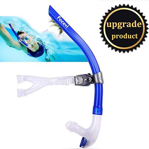 Focevi Swim Snorkel for Lap Swimming,Adult Swimmers Snorkeling Gear for Swimming Snorkel Training in Pool and Open Water,Snorkle Center Mount Silicone Mouthpiece One-Way Purge Valve