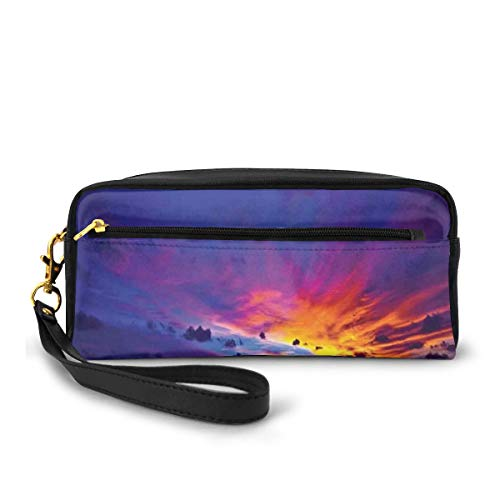 Pencil Case Pen Bag Pouch Stationary,Dream Sunset in Ocean Northern Lights Beyond Pacific Sea Atmosphere Photo,Small Makeup Bag Coin Purse