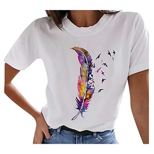 Dasongff Camiseta de verano para mujer, de manga corta, informal, básica, cuello redondo, con impresión interesante, para adolescentes, niñas, mujeres, camisa, blusa, túnica, fitness