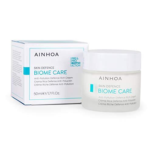 AINHOA Biome Care – Crema Rica Defensa Antipolución 50 ml - Crema facial Protección Antiedad para Mujer – Tratamiento de belleza Acción Prebiótica y Probiótica. (Para Piel Seca)