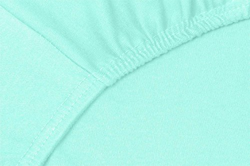 #17 Double Jersey Jersey Spannbettlaken, Spannbetttuch, Bettlaken, 160x200x30 cm, Aqua - 3