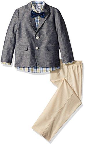 Nautica Boys' Little 4-Piece Formal Dresswear Suit Set with Bow Tie, Denim Peacoat, 5