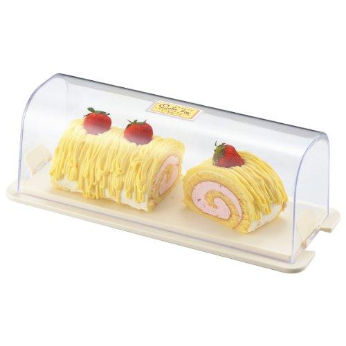 曙産業 ケーキフード 日本製 業務用品 ロールケーキがまるごと入るケース トレーの上でそのままケーキをカットできる ハンドル兼用のストッパー付きで持ち運びに便利 ケーキボックス PS-682