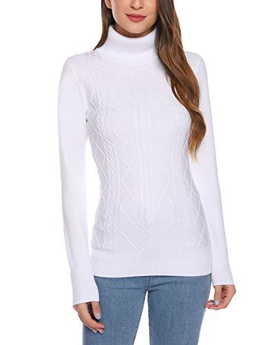 Aibrou Pull à Manches Longues à Col Roulé Femme Simple sous Pull Chic Pullover Basique Casual Chaud Automne Hiver à la Mode, Blanc, L