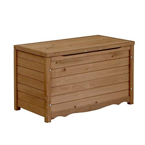 ベンチ ボックス 木製 幅86 屋外 ストッカー ポリタンク 収納 ふた付き 椅子 ライトブラウン