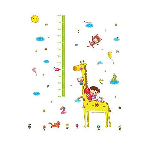 Winhappyhome Giraffe Children's Height Measurement Chart Art Muraux Stickers pour Kids Room Garderie Décalcomanies Décor Amovibles