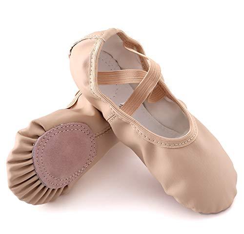 XLH Zapatos de Ballet PU Dance Ballet Flats Suela Completa Slippers para niños pequeños,Flesh,34