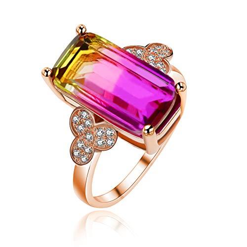 Uloveido Joyería de moda 18K Chapado en oro rosa Simulado Laboratorio Diamante Púrpura Turmalina Anillo de compromiso para Aniversario de bodas RJ400
