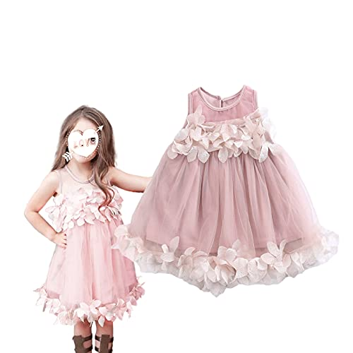 Loalirando Abito da Principessa in Tulle Bambina Vestito Bimba Elegante Senza Maniche con Fiore 3D Ragazze 0-7 Anni per Festa Compleanno Battesimo (Rosa, 6-12 Mesi)