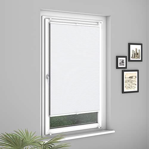 Fensterdecor Klemmfix Premium Plus Waben-Plissee, Doppel-Plissee mit Klemmträgern, Honigwaben-Plissee ohne Bohren in Weiß, lichtundurchlässig und Blickdicht, 75 x 130 cm