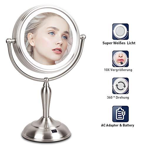 Kosmetikspiegel mit Licht - 10×/1× Vergrößerung Kosmetikspiegel mit LED, 360°Schwenkbar Schminkspiegel mit beleuchtung, Badspiegel mit Batterie & Kabel, 37 cm Höhe, für Kosmetik Rasur Bad Zuhause