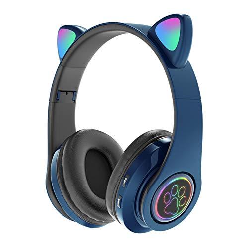 FanLe Niños Bluetooth 5.0 Auriculares con Oreja de Gato Auriculares inalámbricos estéreo Plegables en la Oreja con micrófono Luz LED y Control de Volumen Soporte para Tarjeta TF/Aux in Compatible