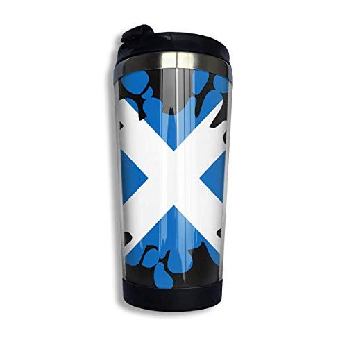 Bandera de Escocia Taza de café con salpicaduras de pintura con tapa para té Taza de viaje de café Acero inoxidable 400 Ml