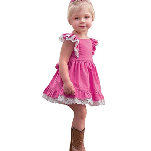 K-youth Verano Vestidos para niña Barata Vestidos Bebe niñas Ceremonia Sin Mangas Encaje Ropa Niña Vestido Infantil Fiesta Niñas Vestido de Princesa 2018 Ofertas (Rosa Caliente, 18-24 Meses)
