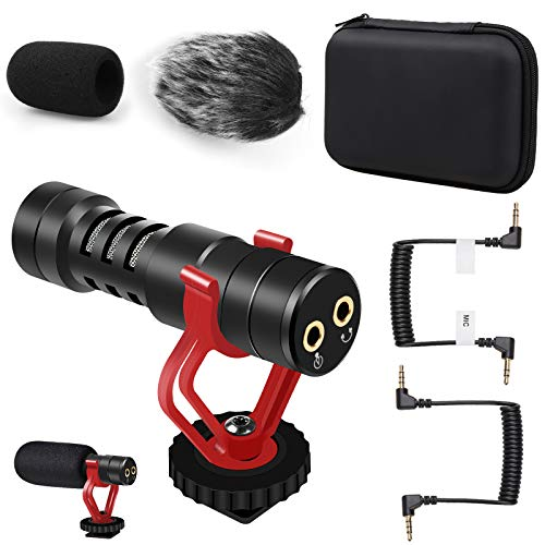 Camera Microphone, External Video Microphone Shotgun Mic for Camera Phone iPhone with Shock Mount Windscreen Windproof Cover, DSLR Mic for Canon Nikon Sony Panasonic Fuji Interview Vlogging