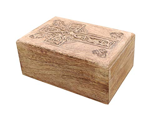 KayJayStyles Hand Carved Jewelry Trinket Keepsake Wooden Storage Box (Medium, Celtic Cross)