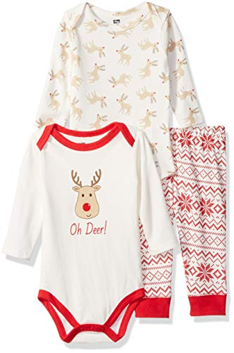 Hudson Baby Unisex Baby Cotton Bodysuit and Pant Set, Reindeer, 0-3 Months
