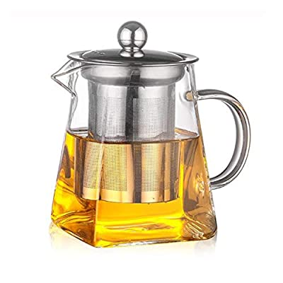 Square Glass Teapots, SUNNIOR 350 ml Clear Heat resistant GlassTea Pots - Stainless Steel Tea Infuser and Strainers Safe for Microwavable and Stovetop