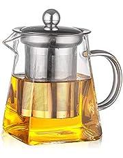 Ansug vierkante glazen theepot van 350 ml, transparant, hittebestendige glazen theepot en zeef van roestvrij staal, geschikt voor de magnetron en geschikt voor kookplaten