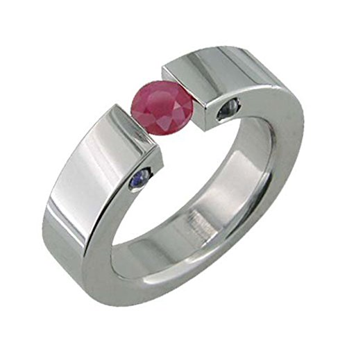 Alain Raphael Titanium Ring with Ruby Stone Tension Set 5 Millimeters Wide Wedding Band