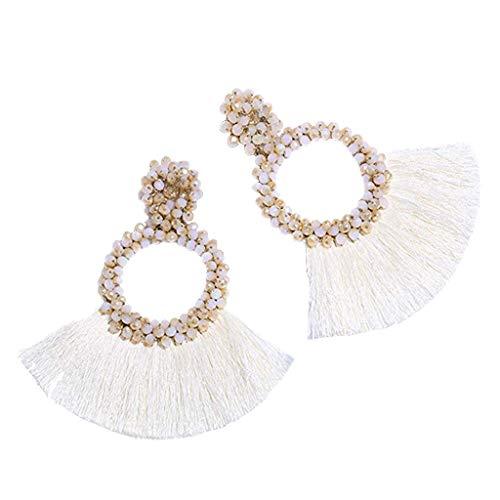 Fenverk Damen Twist Schmuck Set Ohrringe Halskette Silber Haken Ohrhänger Ohrring Allergiefrei Hochzeit Verlobung Partz Schmuck Passt Abendkleid(Beige)