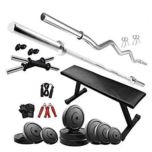 TUFFSTUFF Gym Equipment for Home Workout 40 kg PVC Weights,14' Dumbbell Set, 5ft and 3ft Barbell...